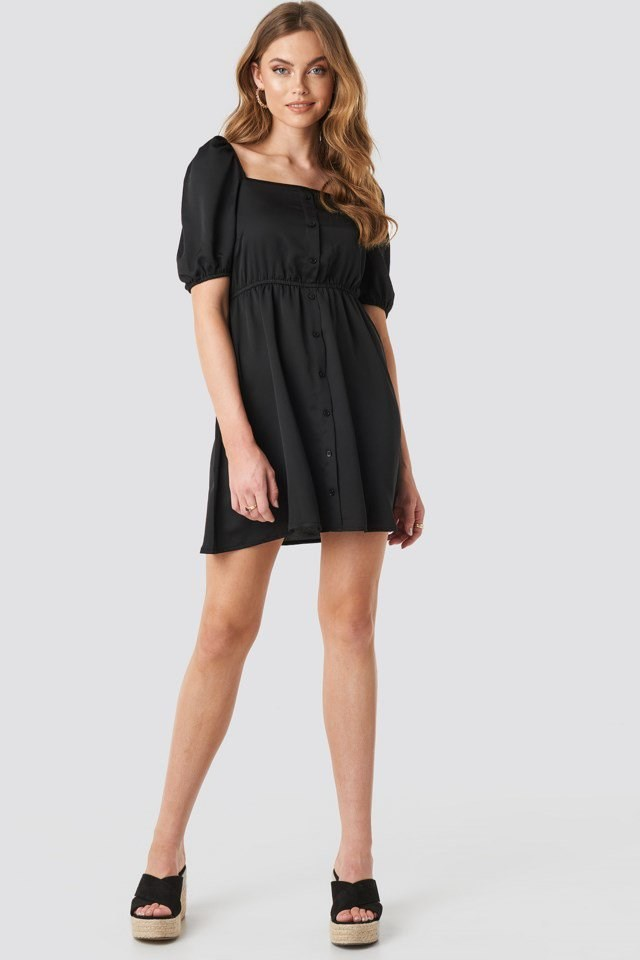 Square Neck Buttoned Mini Dress Black Outfit