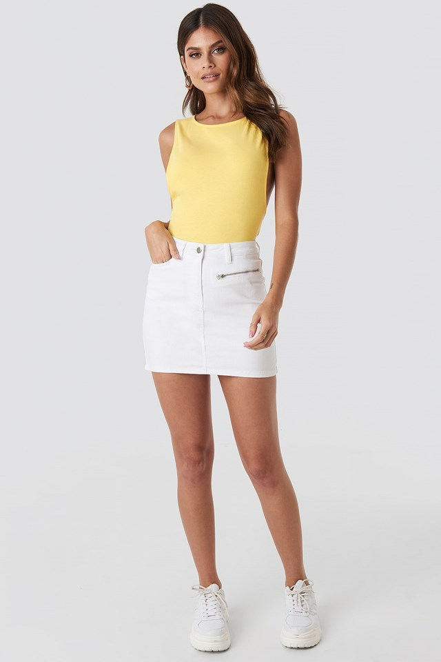Denim Mini Skirt White Outfit