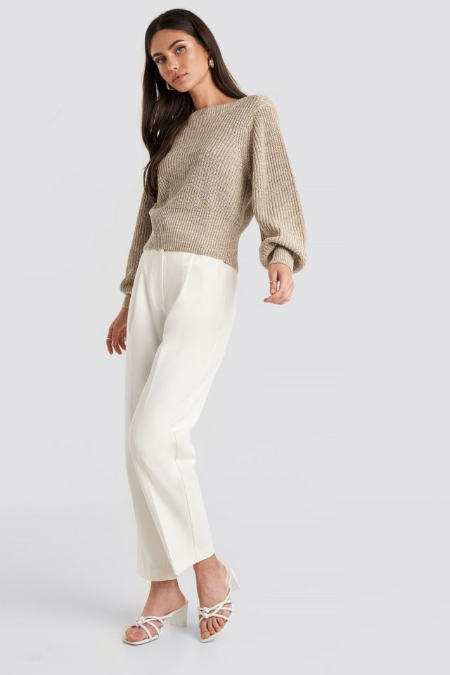 Twisted Pullover Beige Outfit