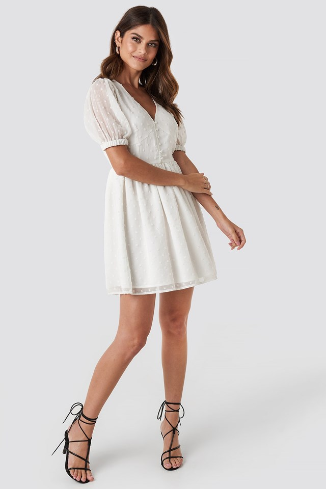 Puff Sleeve Mini Dress White
