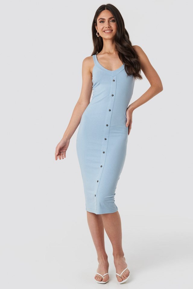 Button Up Ribbed Midi Dress Blue Outfit
