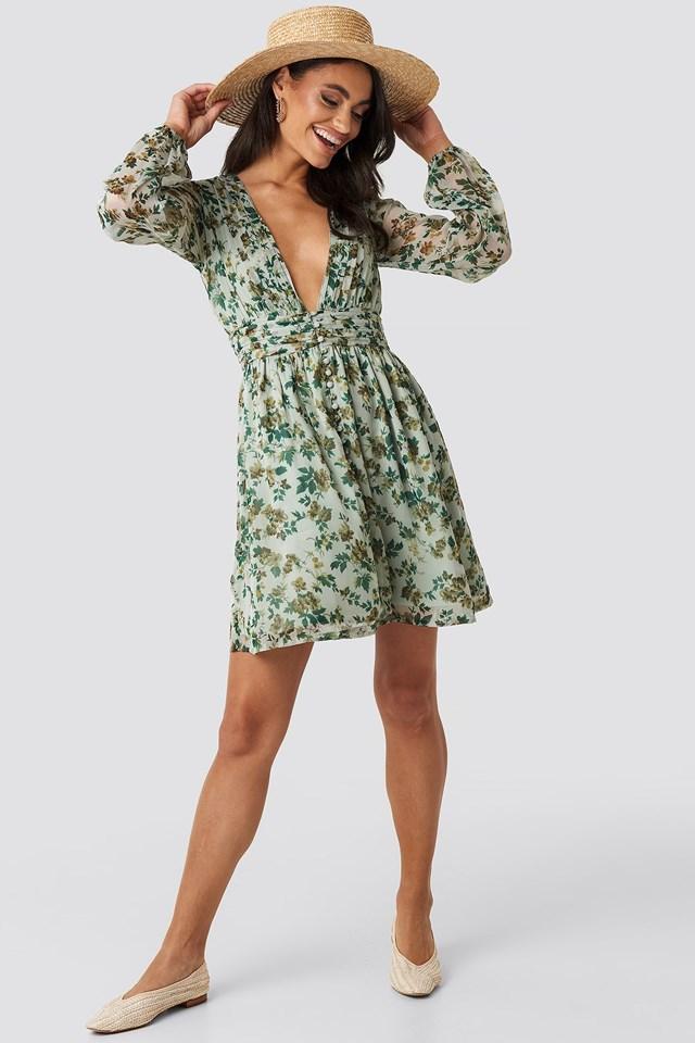 Plunge V-Neck Mini Dress Green