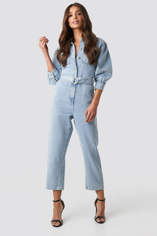 Puff Sleeve Jumpsuit Blue Outfit.