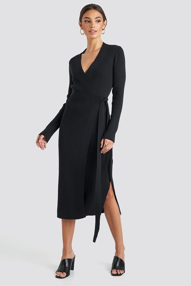 Rib Knitted Dress Black Outfit.