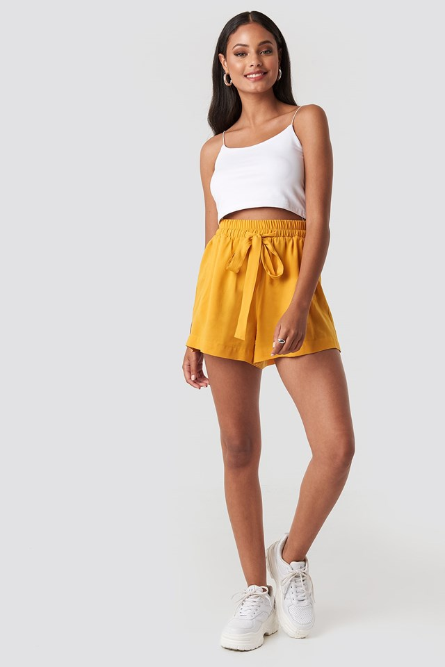 Belted Flowing Shorts Yellow Outfit