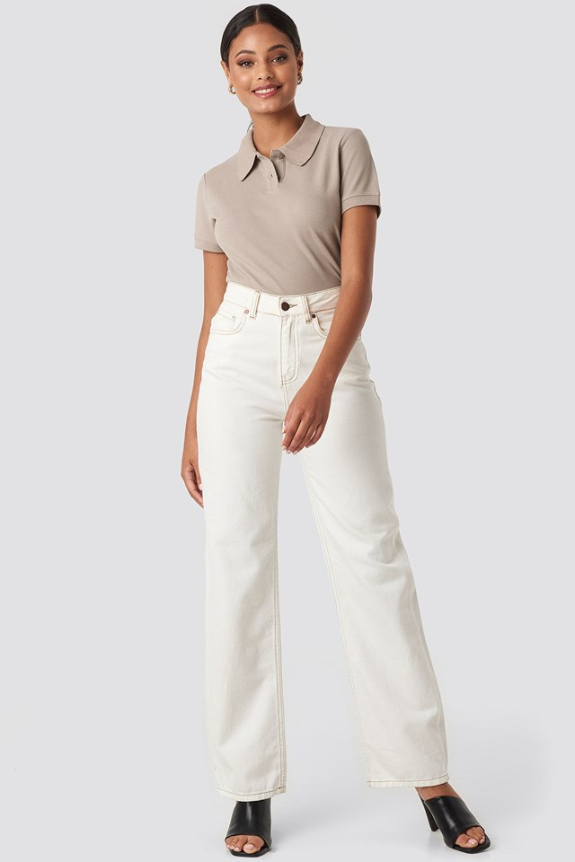 Polo Neck T-shirt Beige Outfit