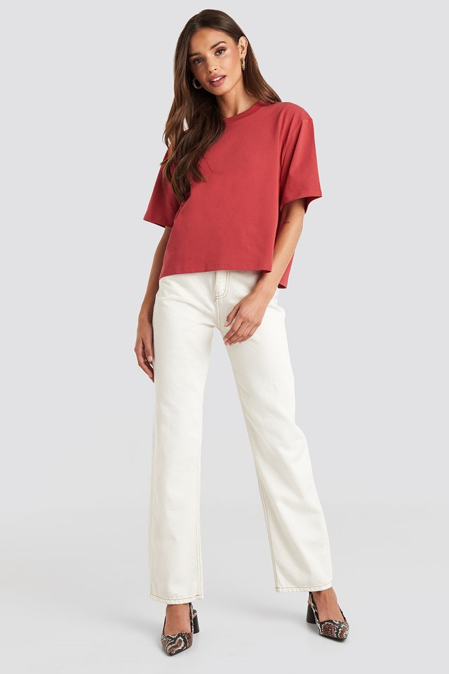 Oversized Short Tee Red Outfit