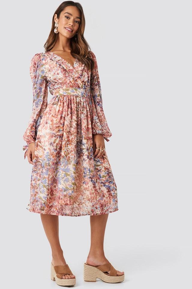 Tie Sleeve Waistband Midi Dress Multicolor Outfit.