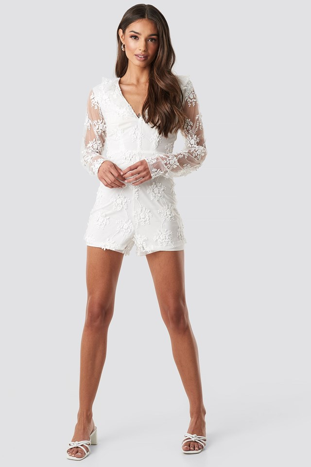 Flower Lace Playsuit White