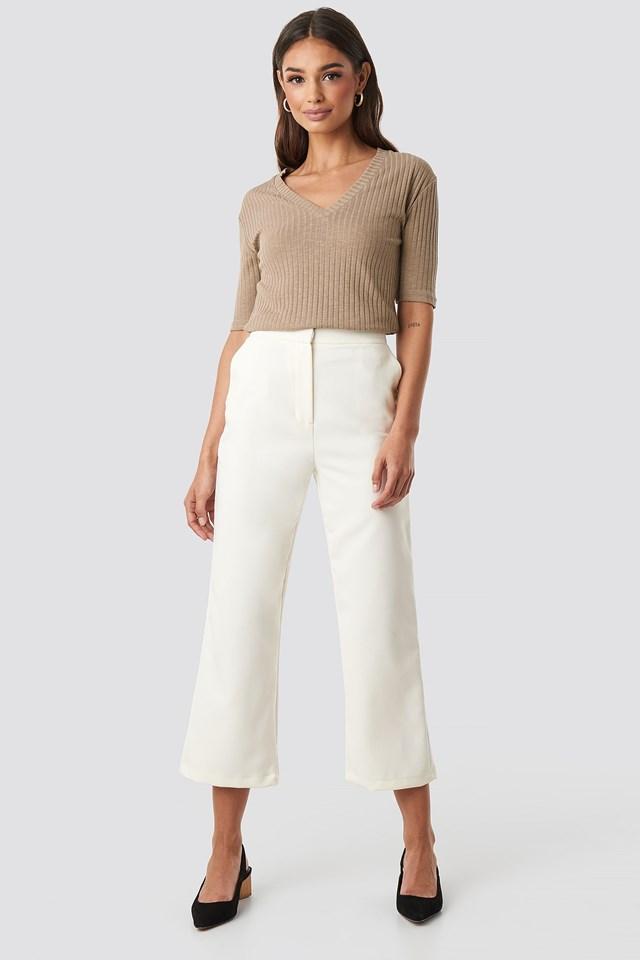 Light Knit V Front Sweater Beige
