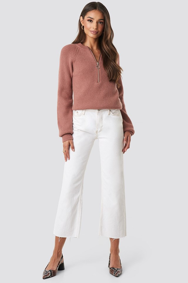 Zipper Front Knitted sweater Pink