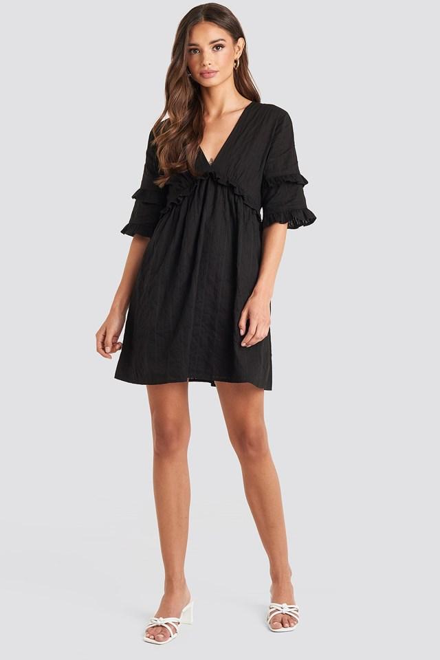 Open Back Ruffle Sleeve Mini Dress Black