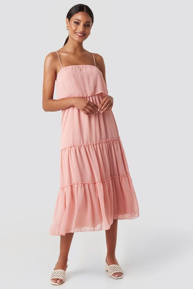Carmen Neck Midi Dress Pink