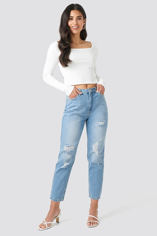 Ripped Detailed High Waist Mom Jeans Outfit