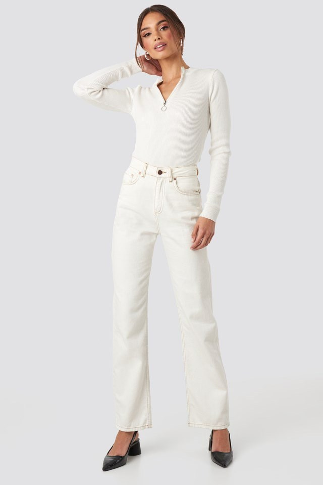 Zip Knitted Sweater White Outfit
