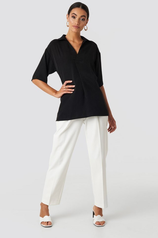 Open-Collar Blouse Black Outfit