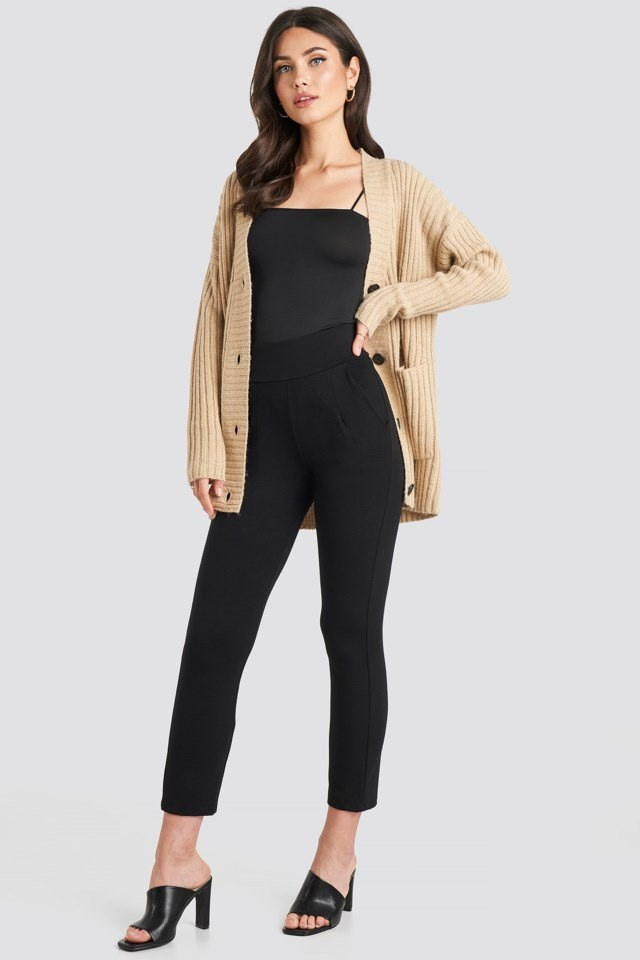 High Waist Tapered Leg Jersey Pants Black Outfit