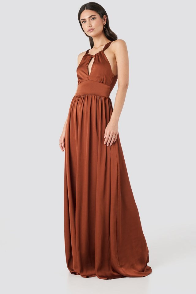 Neck Detailed Evening Dress Copper Outfit