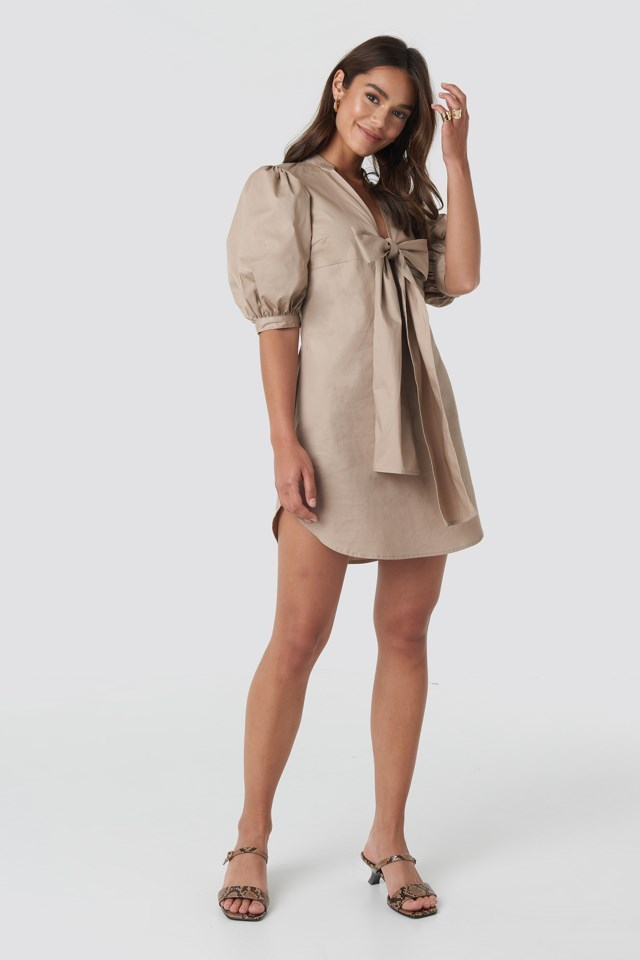 Puff Sleeve Tied Front Short Dress Beige Outfit