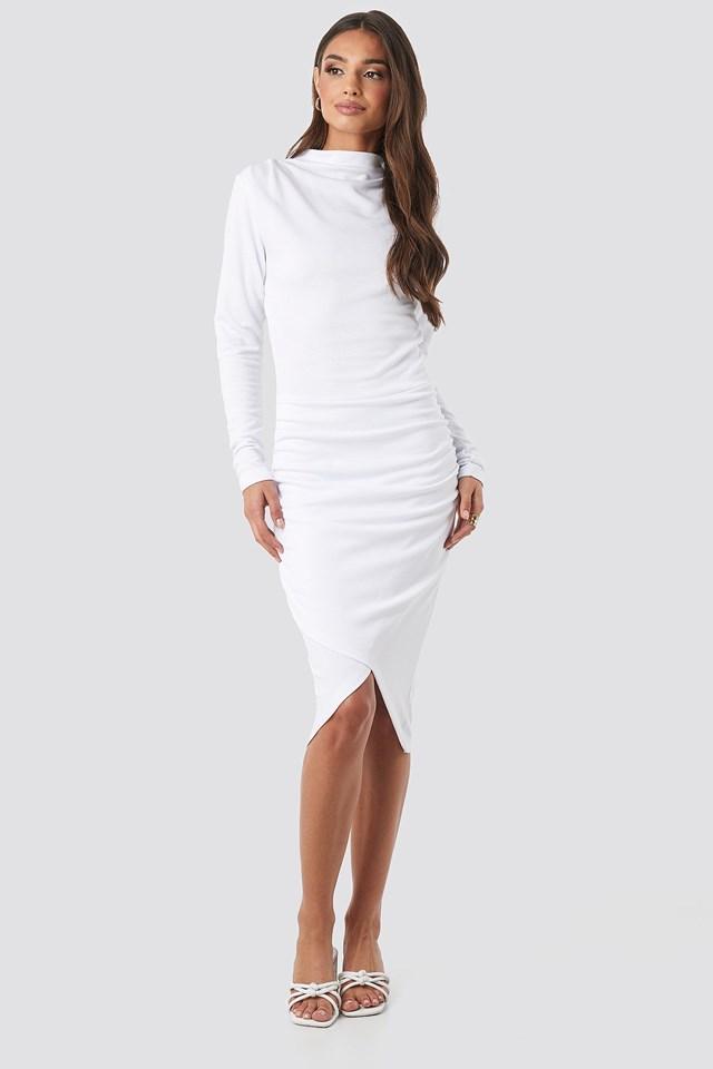 Twist Wrap Dress White Outfit.