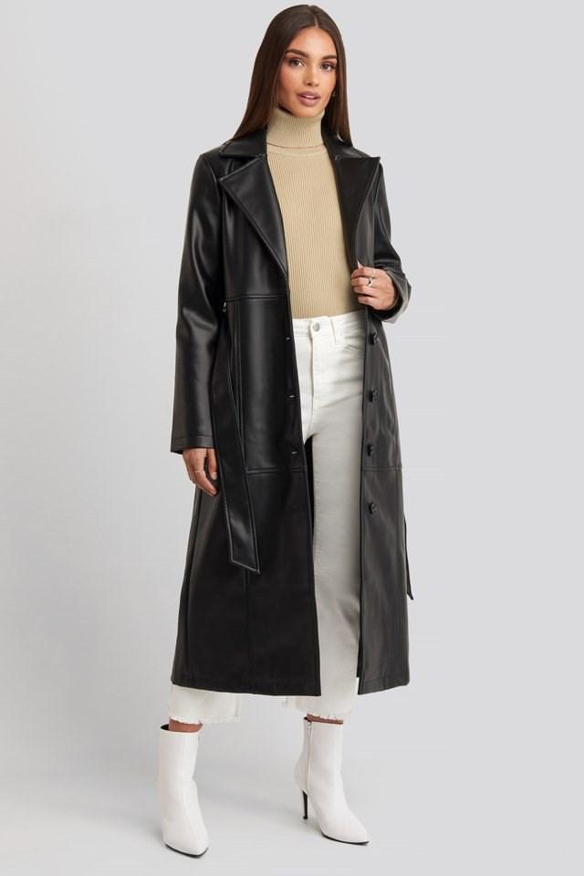 Hoss Long PU Coat Outfit