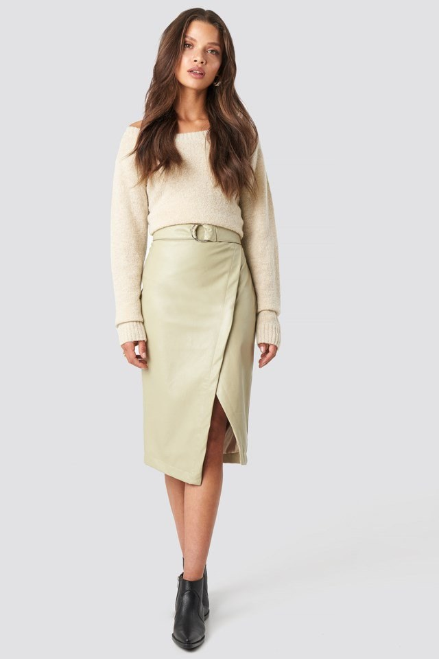 Wrap PU Leather Skirt with Boat Neck Knitted Sweater