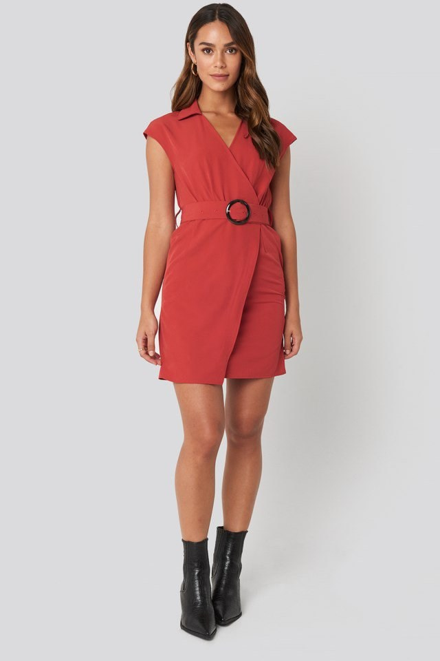 Belted Mini Dress Red Outfit