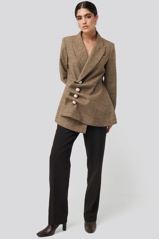 Pearl Embellished Blazer Brown Outfit
