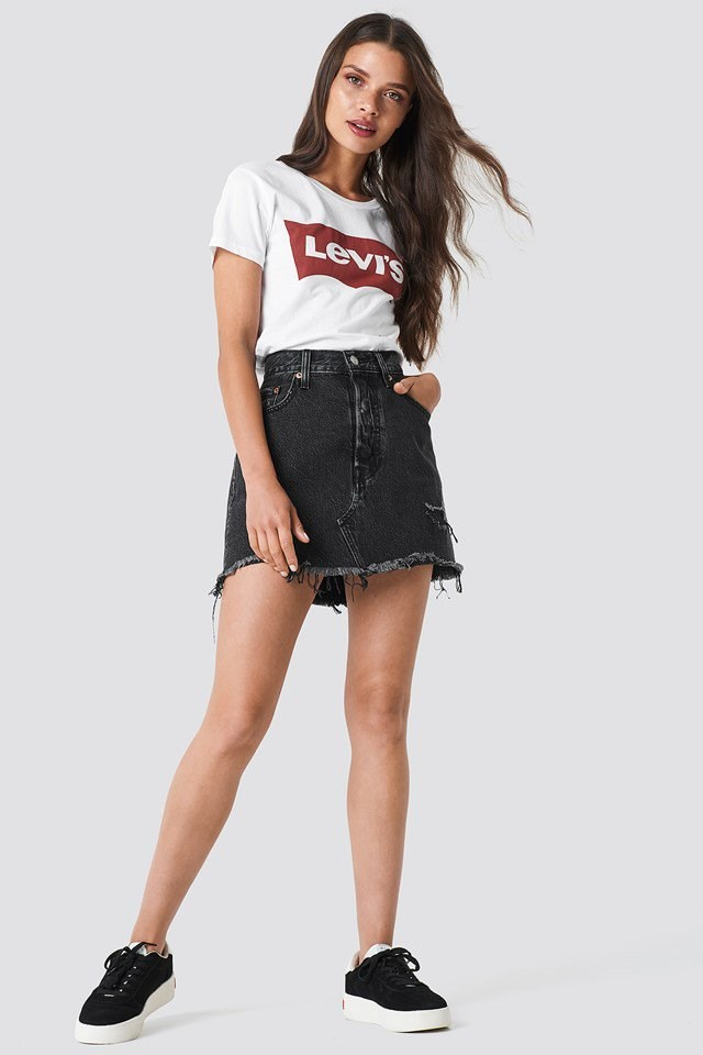 Denim Skirt with Logo T-Shirt