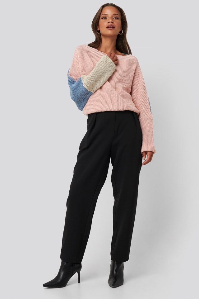 Batwing Cropped Ribbed Sweater Outfit.