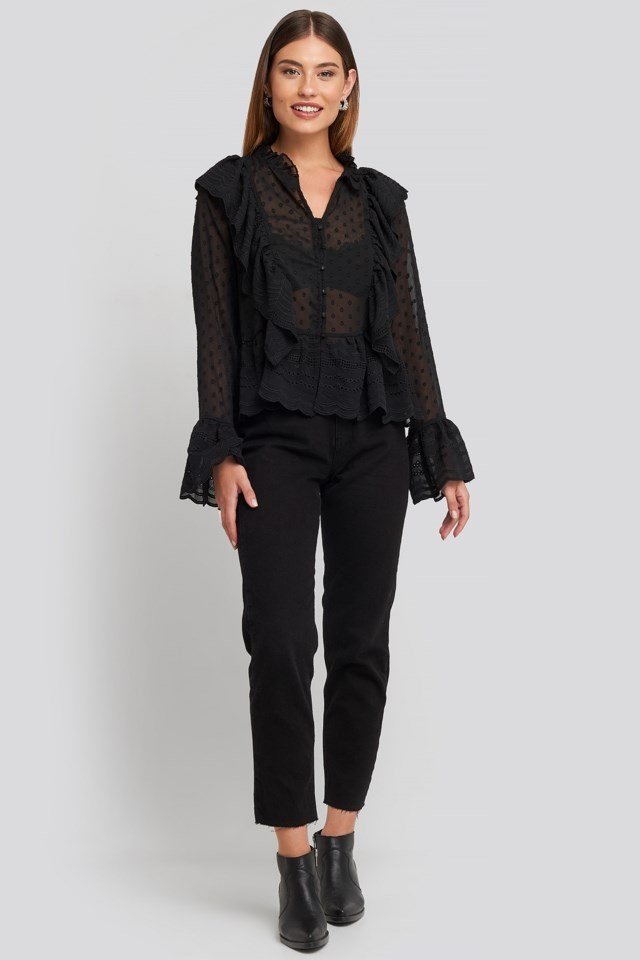 Dobby Flounce Embroidery Blouse Outfit.