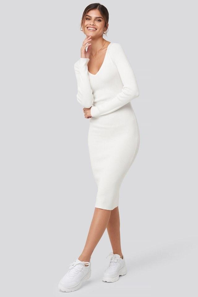 Deep V-Neck Rib Dress Outfit