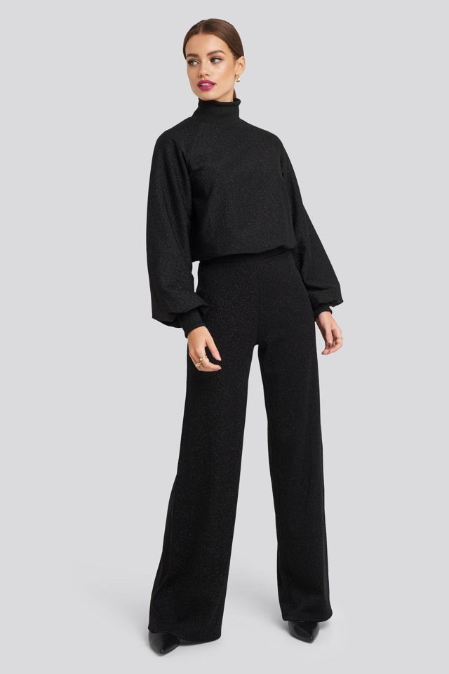 High Neck Balloon Sleeve Sweater Outfit