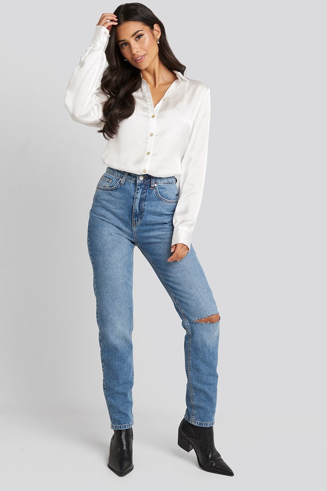 Satin Look Shirt White Outfit
