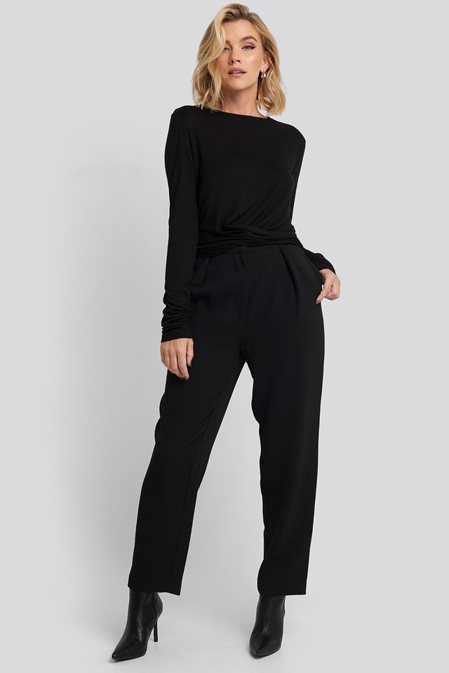 Front Knot Long Sleeve Top Black Outfit