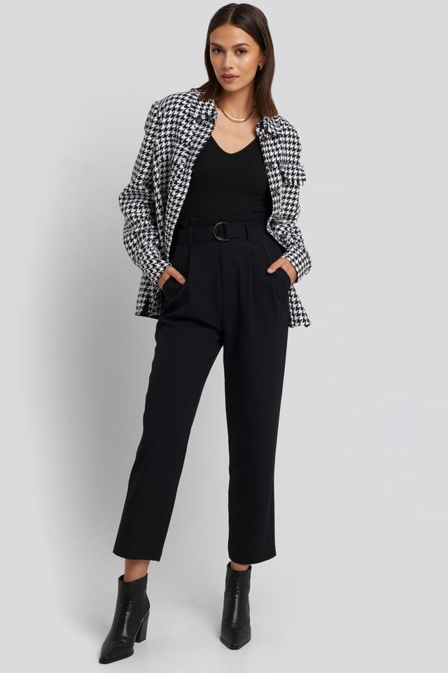 Belted Paperbag Tapered Pants Look