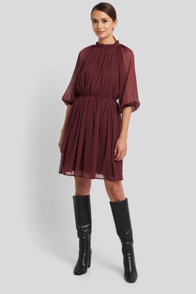 High Neck Elastic Waist Puff Dress Outfit