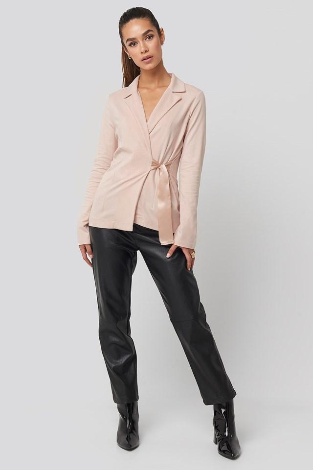 Asymmetric Side Tie Blazer Pink Outfit.