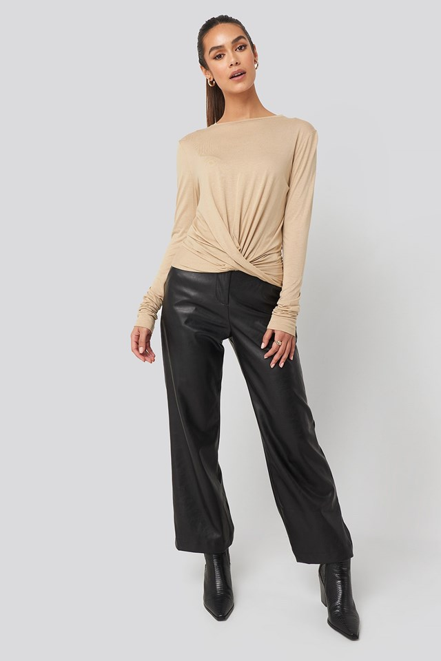 Front Knot Long Sleeve Top Beige Outfit.