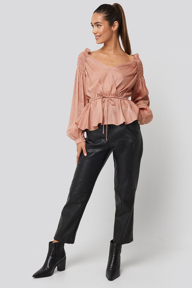 Smock Shoulder Drawstring Blouse Outfit