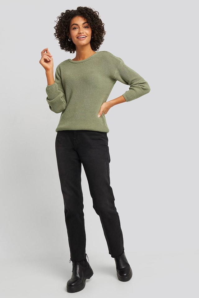 Knitted Deep V-neck Sweater Green Outfit.