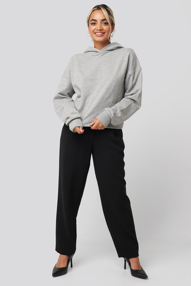 Basic Wide Hoodie Grey Outfit.