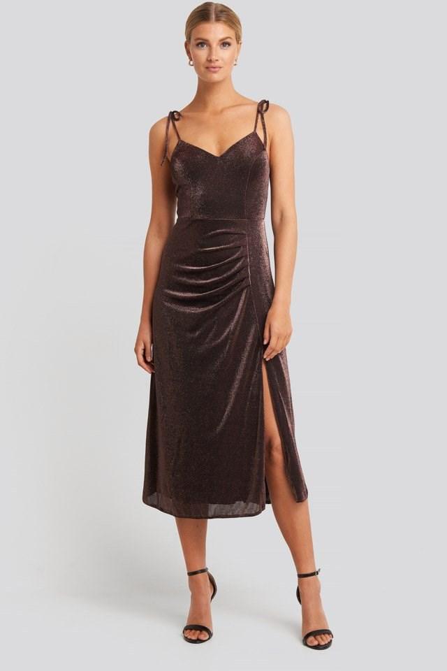 Side Slit Luminous Midi Dress Brown Outfit