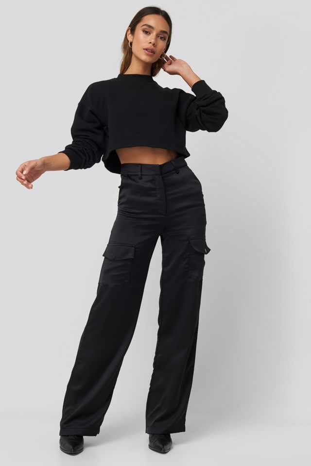 Satin Cargo Pants Outfit