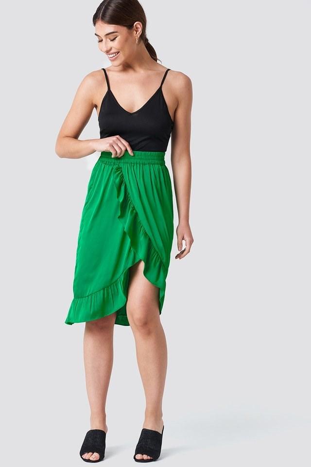 Satin Frill Midi Skirt Outfit