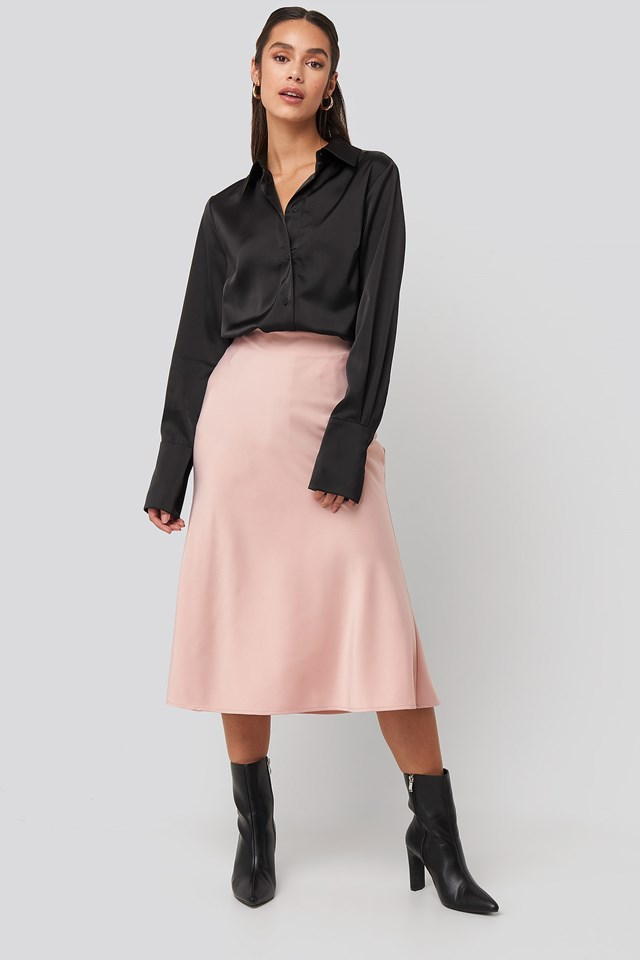 Satin Skirt Pink Outfit.