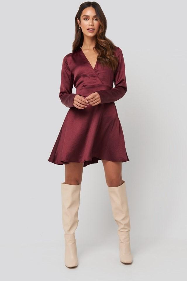 Mini Satin Dress Outfit.