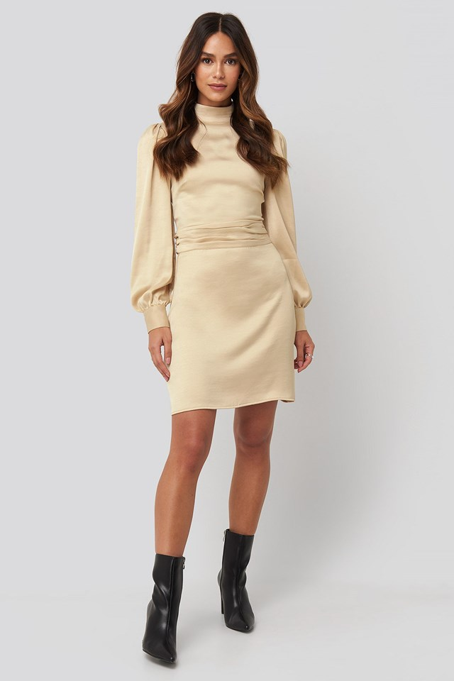 High Neck Satin Dress Beige Outfit