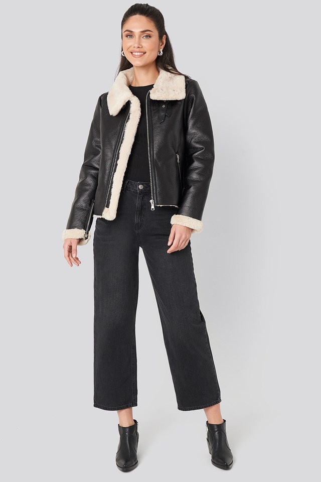 Raw Edge Cropped Aviator Jacket Black Outfit.