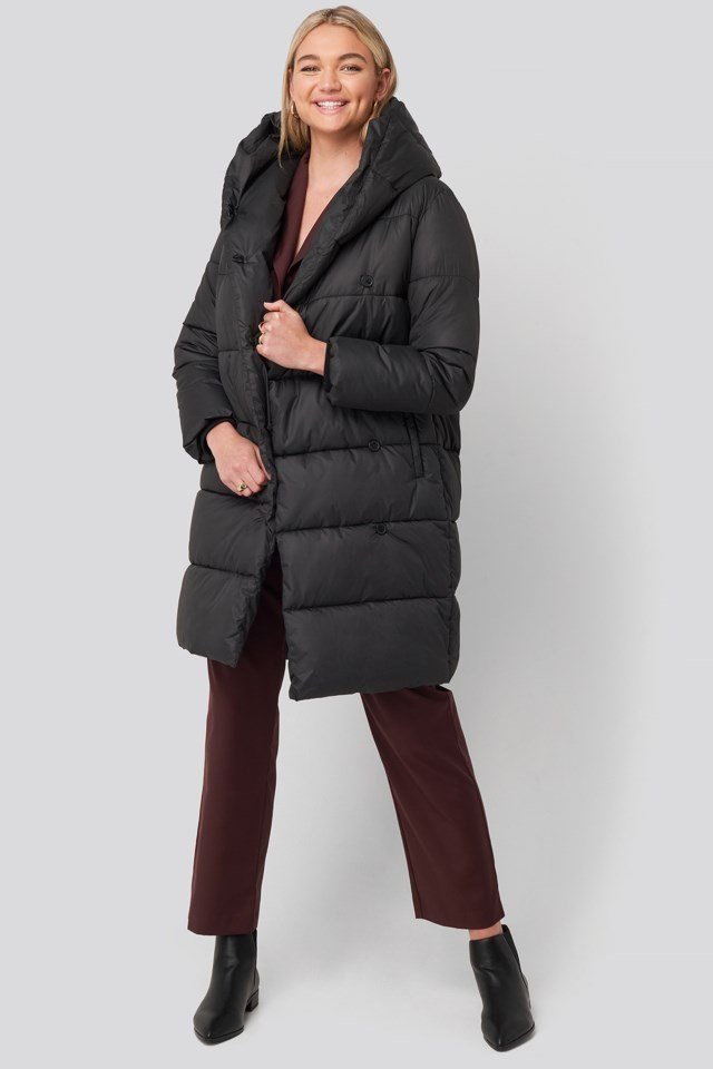 Padded Hood Long Jacket Black Outfit